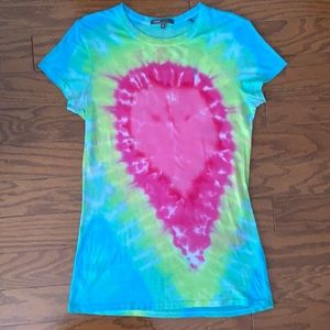 Vince Tie Dye Neon Pima Pink Blue Green Fitted Tee